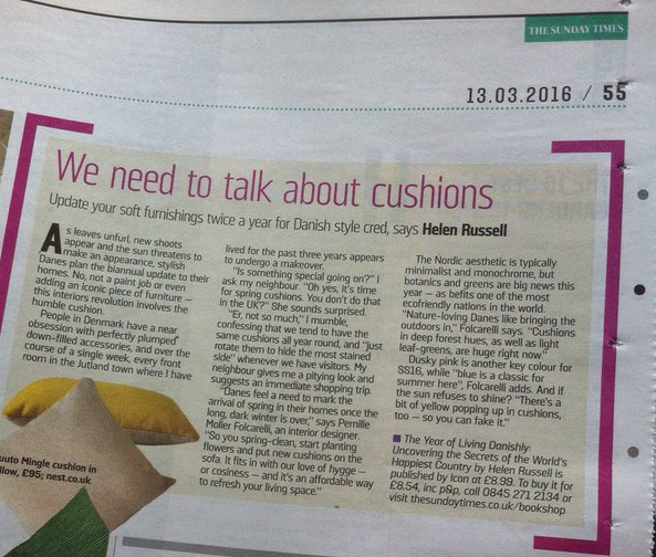 We need to talk about cushions - Sunday Times Home section 13th March 2016