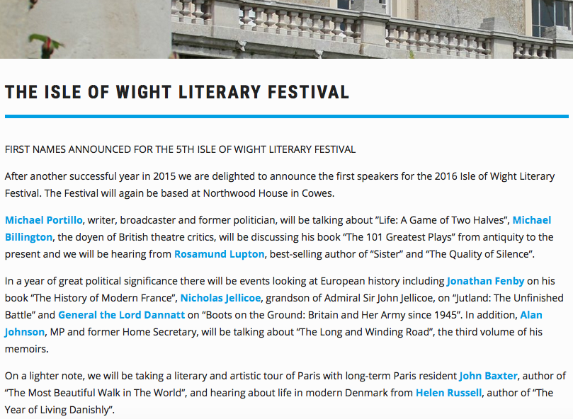 The Year of Living Danishly author Helen Russell at the Isle of Wight Literary Festival 2016 October 14