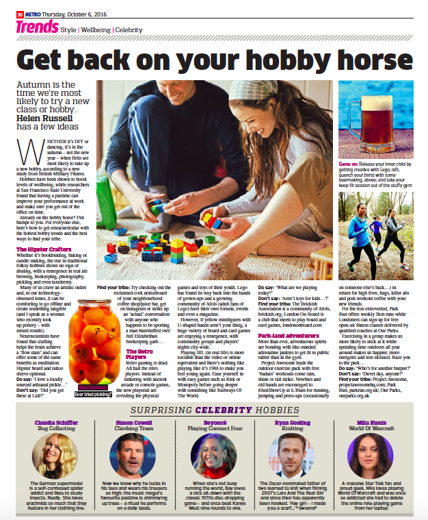 Getting back on the hobby horse - Helen Russell , Metro