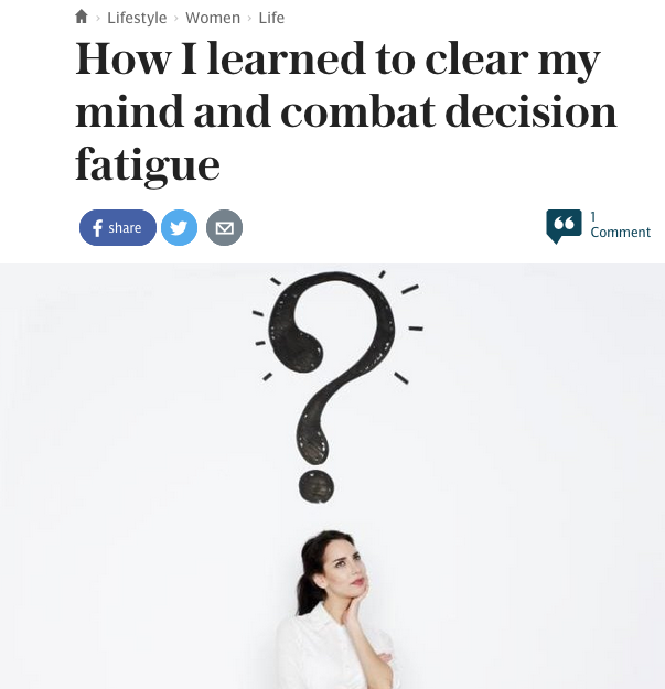 How I learned to clear my mind and combat decision fatigue - Helen Russell author of Leap Year in The Telegraph