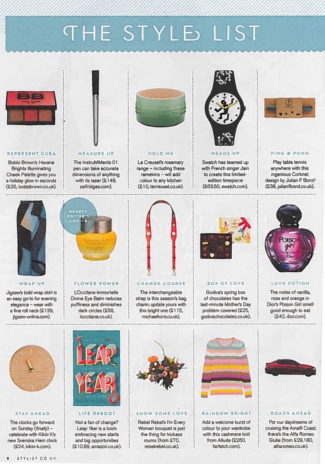 Leap Year makes The Style List in Stylist magazine 23rd March 2017