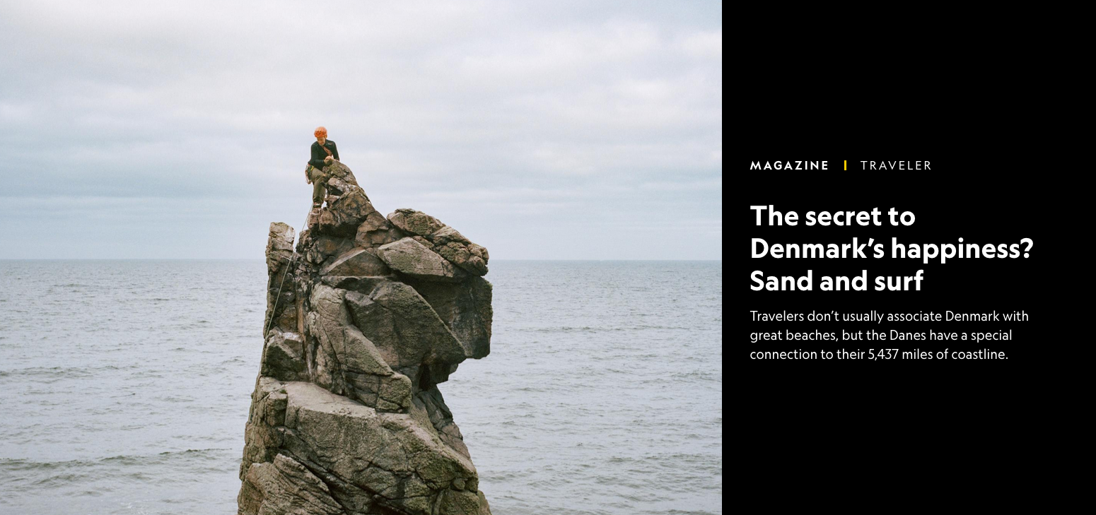 Denmark's secret to happiness? Sand and surf by Helen Russell in National Geographic